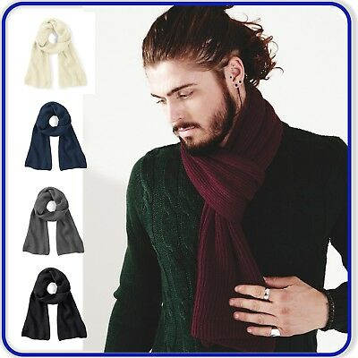 New Quality Beechfield Knitted Scarf Mens Ladies Ribbed Knit Soft Touch Scarf