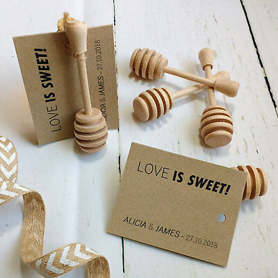 Personalised Wedding Favour Miniature Wooden Honey Drizzler Spoon