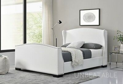 Wing Back Sleigh Bed Linen Fabric White Or Dark Grey Double Or King Size