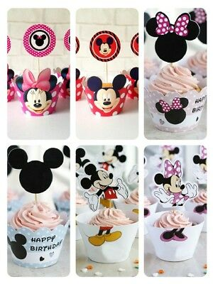 Muffin Cupcake Wrapper Hülle Minnie Mickey Micky Kindergeburtstag Cupcake Form