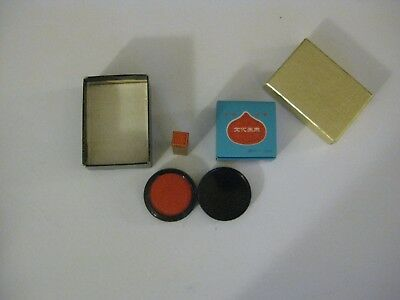 Chinese Asian  Chop Stamp Set new Vermillon red ink pad wood rubber scrapbooking