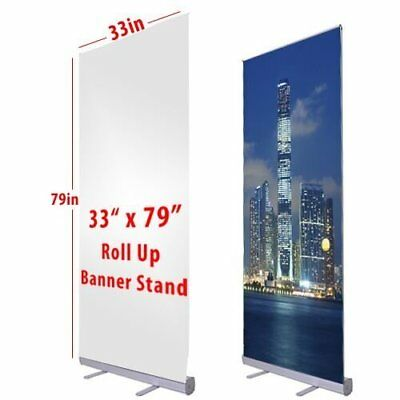 "NEW Retractable Roll Up Banner Stand 33"" wide x 79"" tall Display-FREE SHIP VIP"