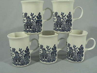 Blue willow 5 pc Porcelain tall tea coffee cups mugs made in England 8 ozs.