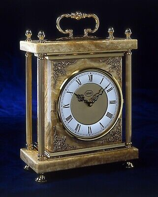 Bronze Spanish Mantle Clock Elegant Marble Base and English Brass Finish 711 New