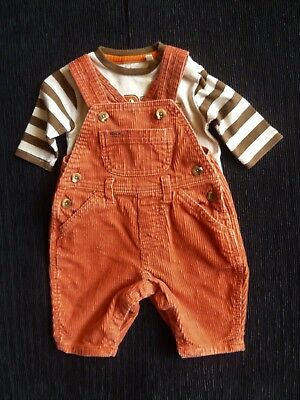 Baby clothes UNISEX BOY 0-3m outfit Mothercare cord rust dungaree/L/S racoon top