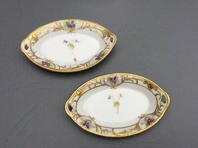 2 hand painted porcelain salt dishes Morimura Bros. NIPPON 1920's 1030's