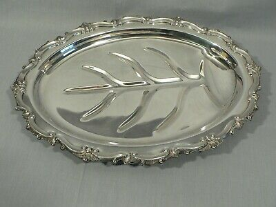 Silverplate footed meat serving tray platter juice channel and well Poole 133