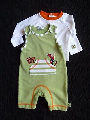 Baby clothes BOY 0-3m outfit Babble Boom dungarees/L/S top green, orange, white