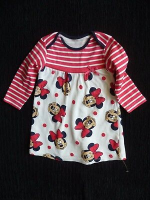 Baby clothes GIRL 6-9m Disney Minnie Mouse red,cream,black sof long sleeve dress