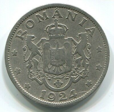 Romania C098 1924, 2 Lei, Ferdinand KM#47, beautiful old coin