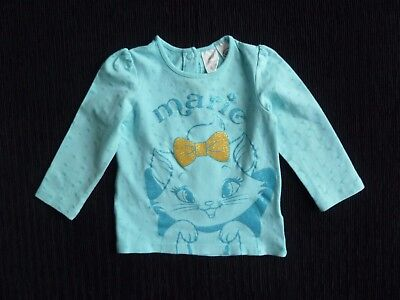 Baby clothes GIRL 6-9m turquoise long sleeve top't-shirt Marie sparkly cat bow