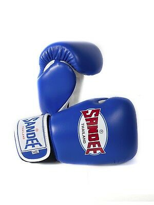 Sandee Boxing Gloves Authentic Leather Blue White Muay Thai Kickboxing MMA