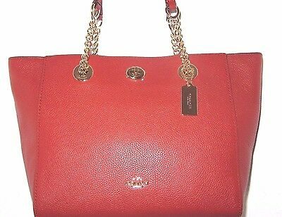 Coach 57107 Terracotta Pebble Leather Gold Chain Turn Lock Tote Bag NWT $295