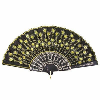 Koyal Wholesale 10-Pack Decorative Vintage Sequin Embroidered Fan, Gold/Yellow