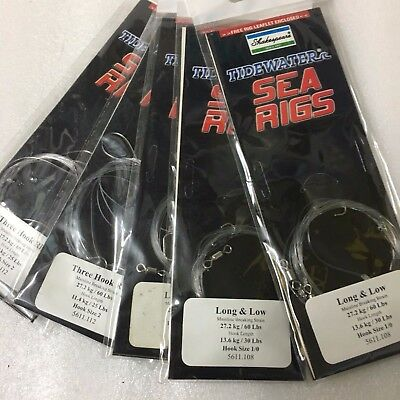 5 Packs Shakespeare ready rigs for beach casting 3 x long & low, 2 x 3 hk flap