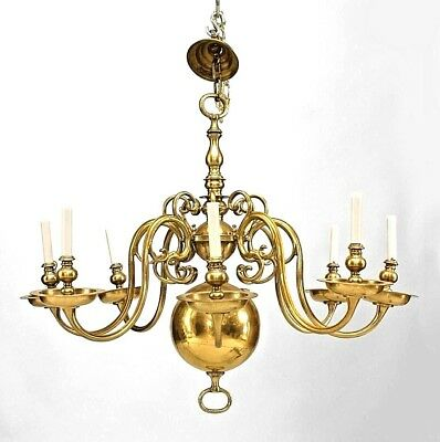 English Georgian Style Brass Chandelier with 8 Scroll Form Arms