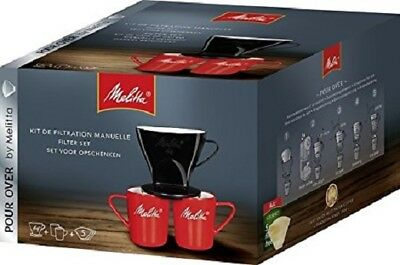 Melitta Pour Over Coffee Set With 2 Mugs 1 X 4 Filtercone + 5 Filters   Mel21793