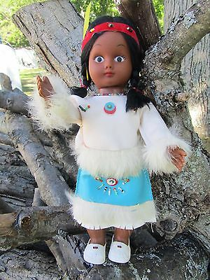 Vintage Native American Indian Doll Fur Leather Beaded Dress White Turquoise 11