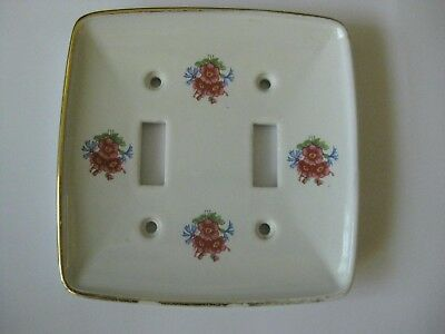 Light Switch Cover Porcelain White  flowers pink roses vintage double  toggle