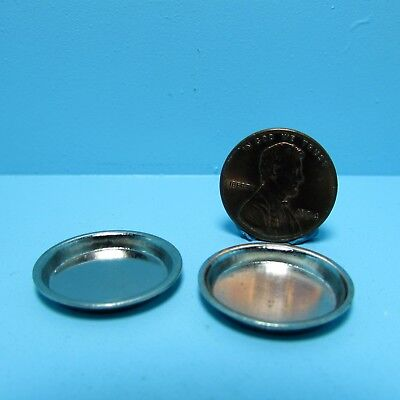 Dollhouse Miniature Set of 2 Silver Pie Pans / Dishes ~ FA70807