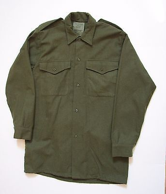Pasolds Men's Combat Army Shirt Size 2 Wool Green Long Sleeve