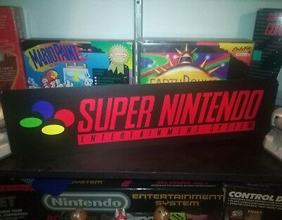 "Super Nintendo Display, Aluminum Sign, 6"" x 24"". SNES!"