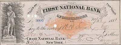 1881  FIRST NATIONAL BANK of COOPERSTOWN, NY  LEATHERSTOCKINGS VIGNETTE