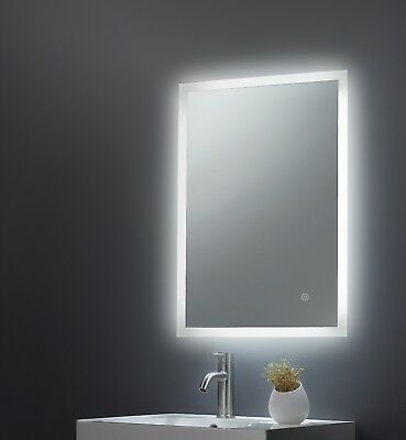 Designer Backlit Frosted Edge LED Illuminated Bathroom Mirror Demister Touch