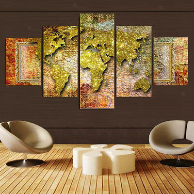 5 Panels Large Canvas Pictures Wall Art Prints Hanging Poster World Map S