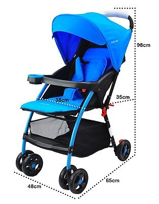 Lightweight Baby Infant Stroller Pram Pushchair Buggy with Lay Back seat