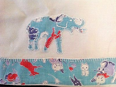 Vtg Baby Pillowcase Applique Elephant Bed Pillow Feedsack Embroidered Crib Sham
