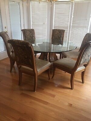 60 Round Dining Table With Gl Top And Six Chairs Leather Seat