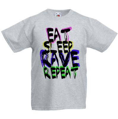 Eat Sleep Rave Repeat Kid's T-Shirt Children Boys Girls Unisex Top