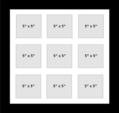 """Multi Aperture Photo fits 9 photos 5""""x5"""" inches multi-picture frame white mount"""