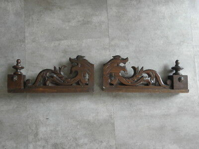 French Antique Pediment Architectural fourniture CARVED WOOD PANEL MANTEL retro