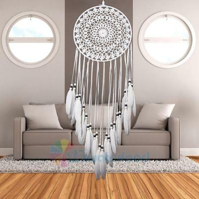 Handmade Lace Dream Catcher with Feathers Wall Hanging Decoration Ornament White