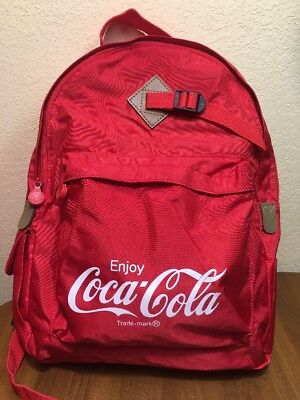 Vtg Coke Cola Red Advertising Backpack Bag Collectible Korea Nylon