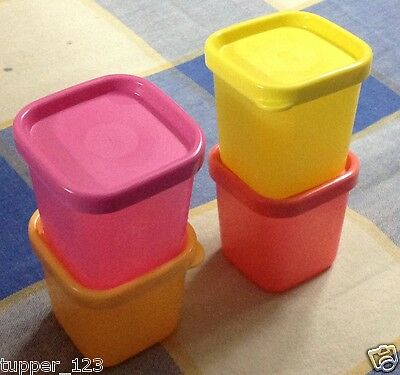 Tupperware Expression Cool square minis-set of 4 - multi color -new