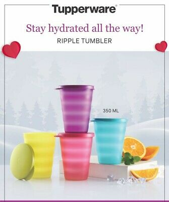Tupperware - 12oz Tumblers - set of 4-multicolors - with matching lid -