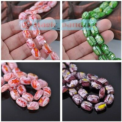 Charms New 14x10mm Colorful Oval Shape Crystal Lampwork Glass Loose Spacer Beads