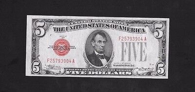1928-C $5 United States Note, Red Seal, Fr# 1528...au
