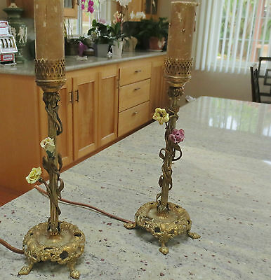 Antique French Gilt Bronze- Pair of Boudoir Lamps- Claw Feet.. $140 for Pair