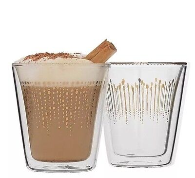 New Ecology Comet 300Ml Latte Glass Set Of 2 Gold Decal Coffee Heat  Glasses