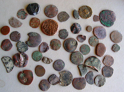 50 COPPER Bronze Ancient Hammer Struck Coins found in Europe with Metal Detector