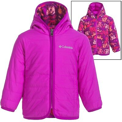 Columbia Baby Girls 3-6 Mos Double Trouble Plum Critter Winter Jacket Reversible