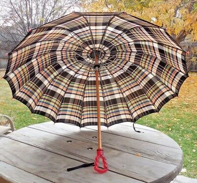 Fun Vintage Plaid Umbrella with Red Lucite Handle!