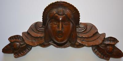 Vintage Carved Mahogany Furniture Pediment ~ Woman's Head w/Scrollwork & Leaves
