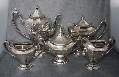 Reed & Barton SILVERPLATE Art Nouveau COFFEE & TEA SET 5 Pieces No. 3693