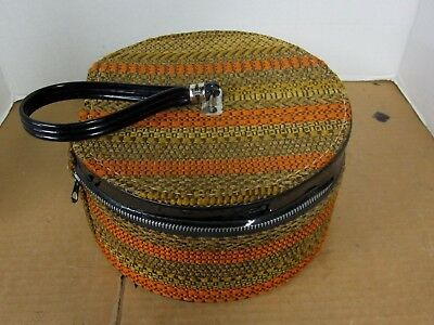 Travel Wig Hat Box Zippered Tapestry  Munro Carry-All Vintage Mid Century