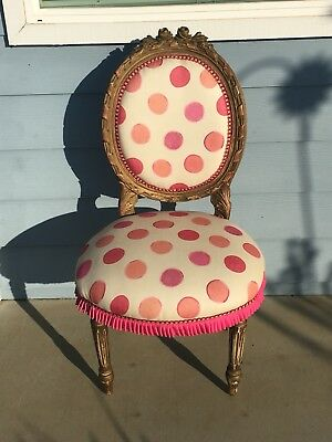 Antique Victorian Balloon Back Parlor Chair Pink Geometric Fabric Hot Pink Trim